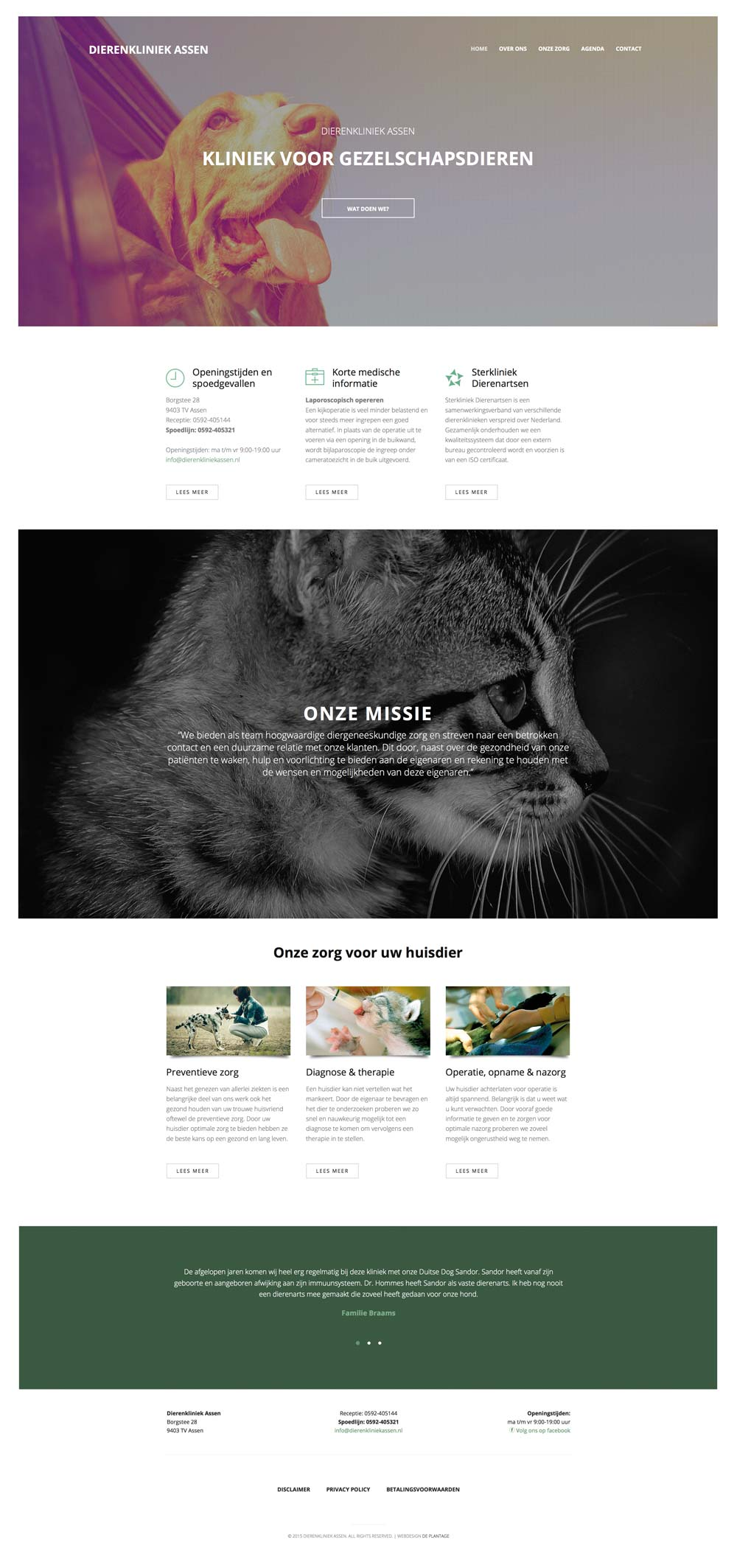 website dierenkliniek assen homepage
